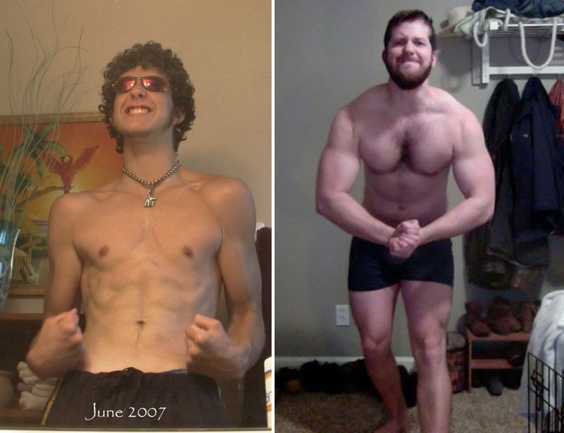 80 lbs Muscle Gain Before and After 6'2 Male 120 lbs to 200 lbs