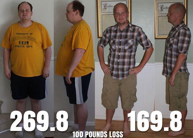 5 foot Male 100 lbs Fat Loss 269 lbs to 169 lbs