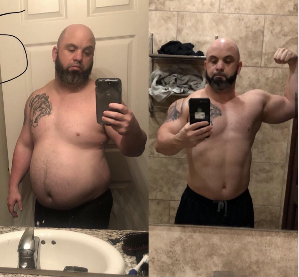 Before and After 90 lbs Fat Loss 5 foot 6 Male 285 lbs to 195 lbs