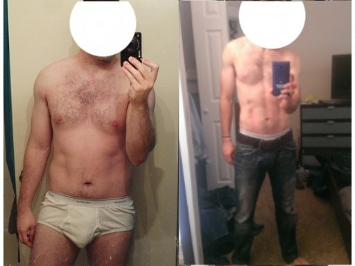 Before and After 20 lbs Fat Loss 5'7 Male 150 lbs to 130 lbs