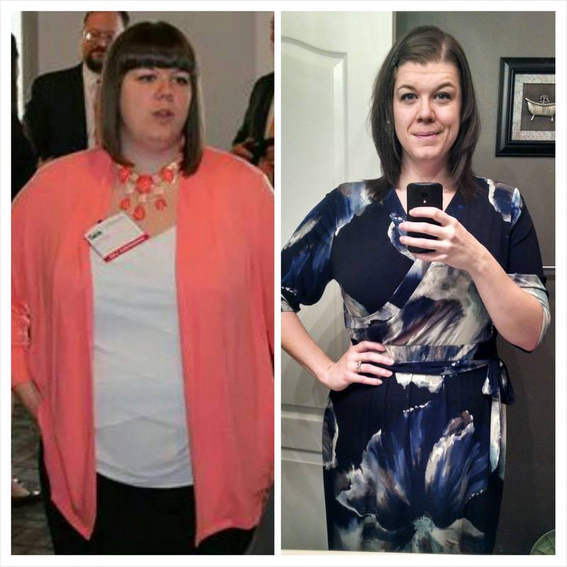 76 lbs Fat Loss Before and After 6 foot Female 291 lbs to 215 lbs