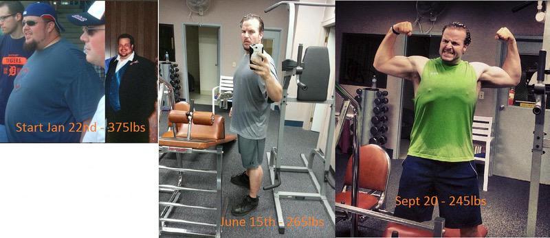 6'1 Male Progress Pics of 115 lbs Weight Gain 130 lbs to 245 lbs