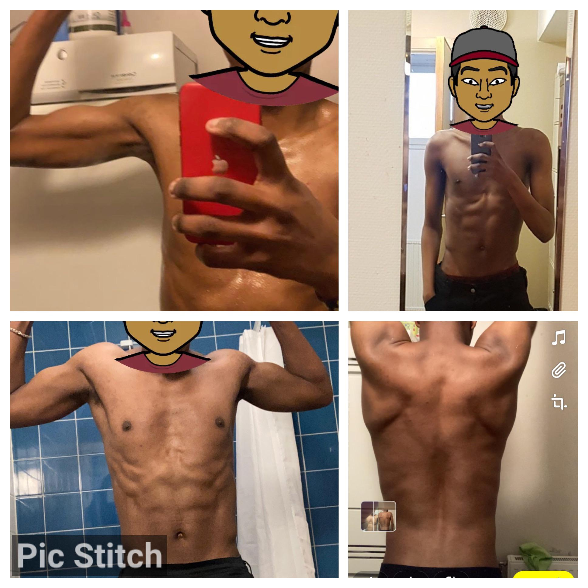 20 lbs Weight Gain Before and After 6 foot 1 Male 136 lbs to 156 lbs