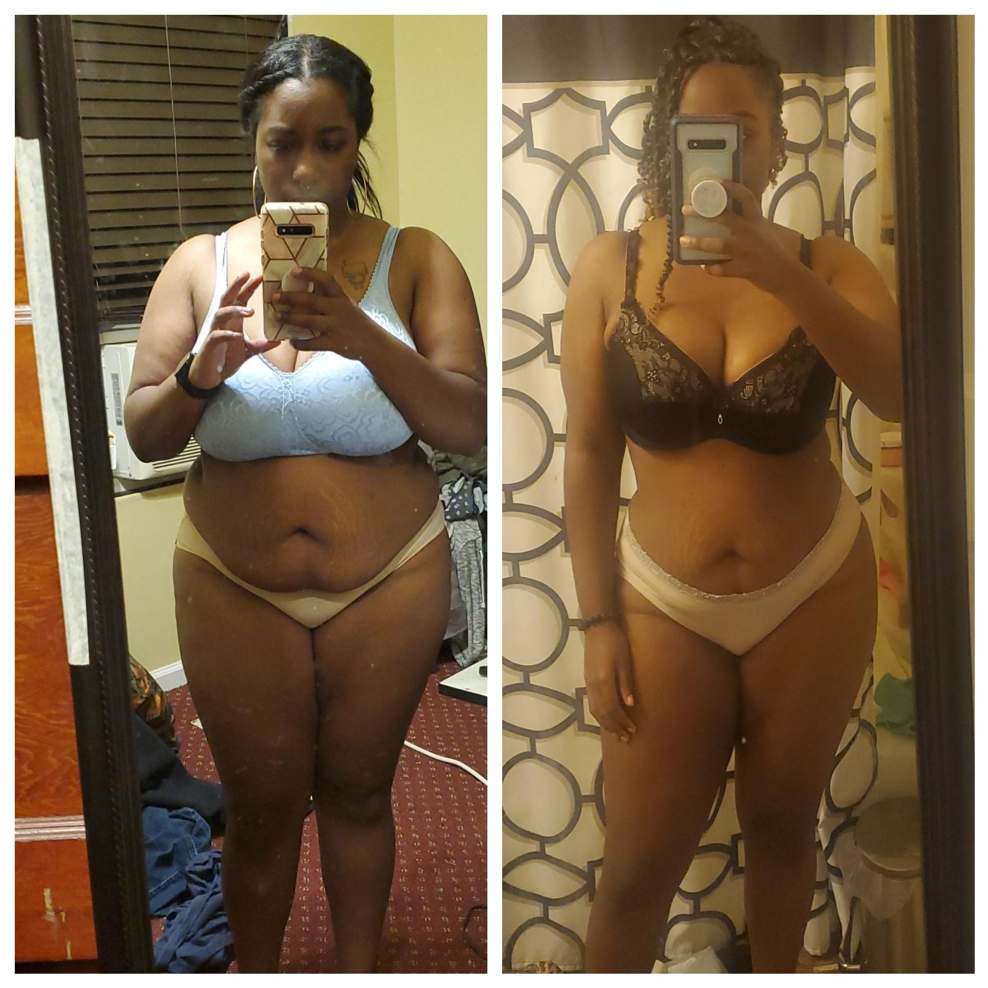 Progress Pics of 40 lbs Fat Loss 5 foot Female 200 lbs to 160 lbs