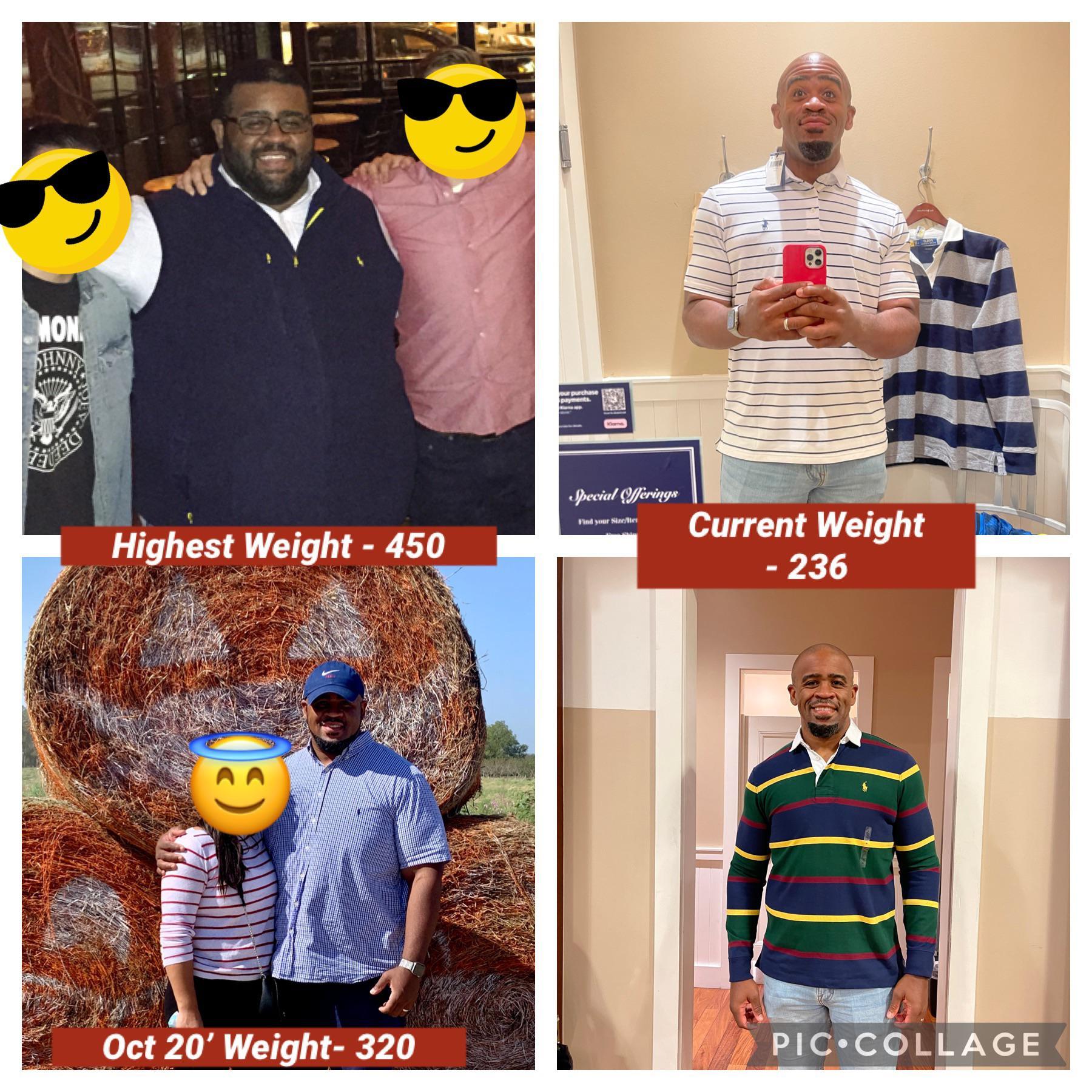 5 foot 11 Male 214 lbs Weight Loss 450 lbs to 236 lbs