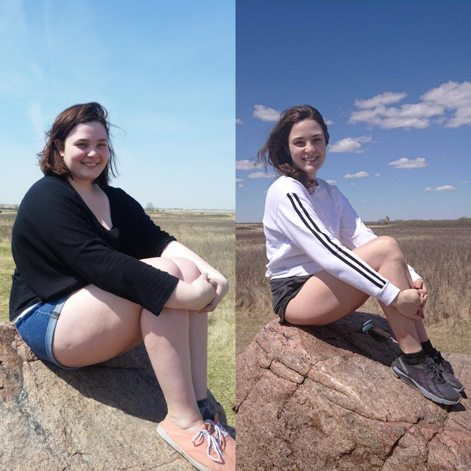 82 lbs Fat Loss Before and After 5 feet 10 Female 239 lbs to 157 lbs