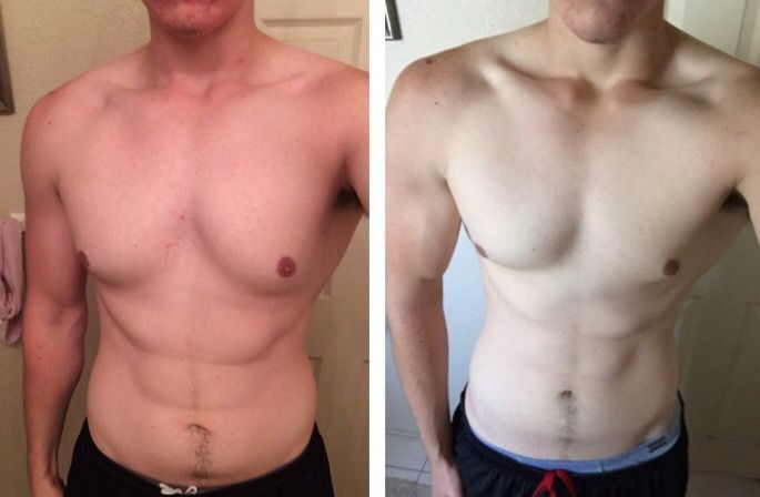 6 foot Male Before and After 12 lbs Weight Loss 195 lbs to 183 lbs