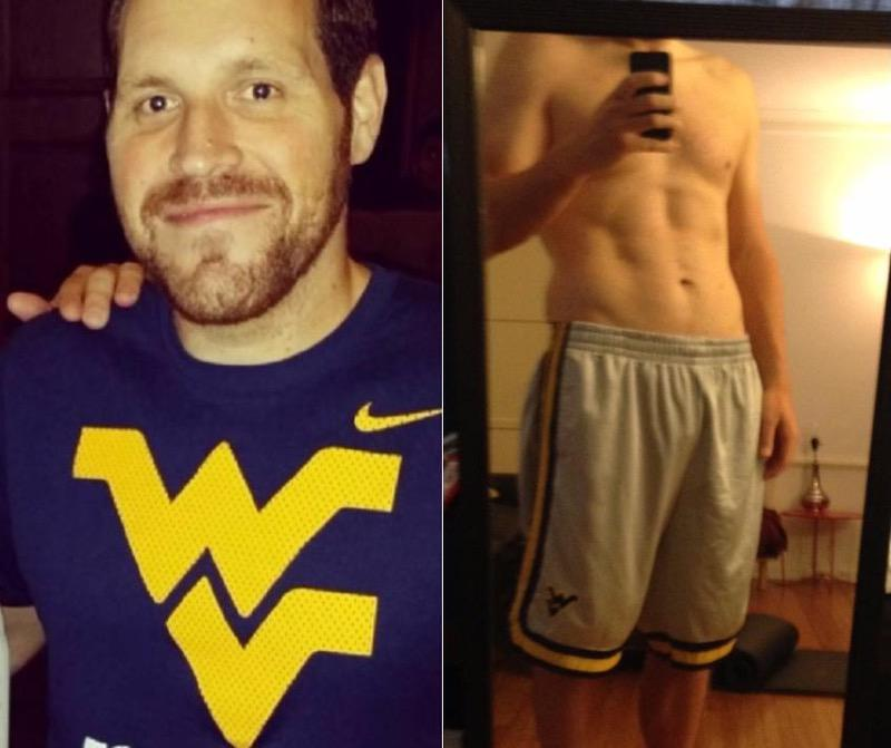 80 lbs Fat Loss Before and After 6 feet 2 Male 300 lbs to 220 lbs