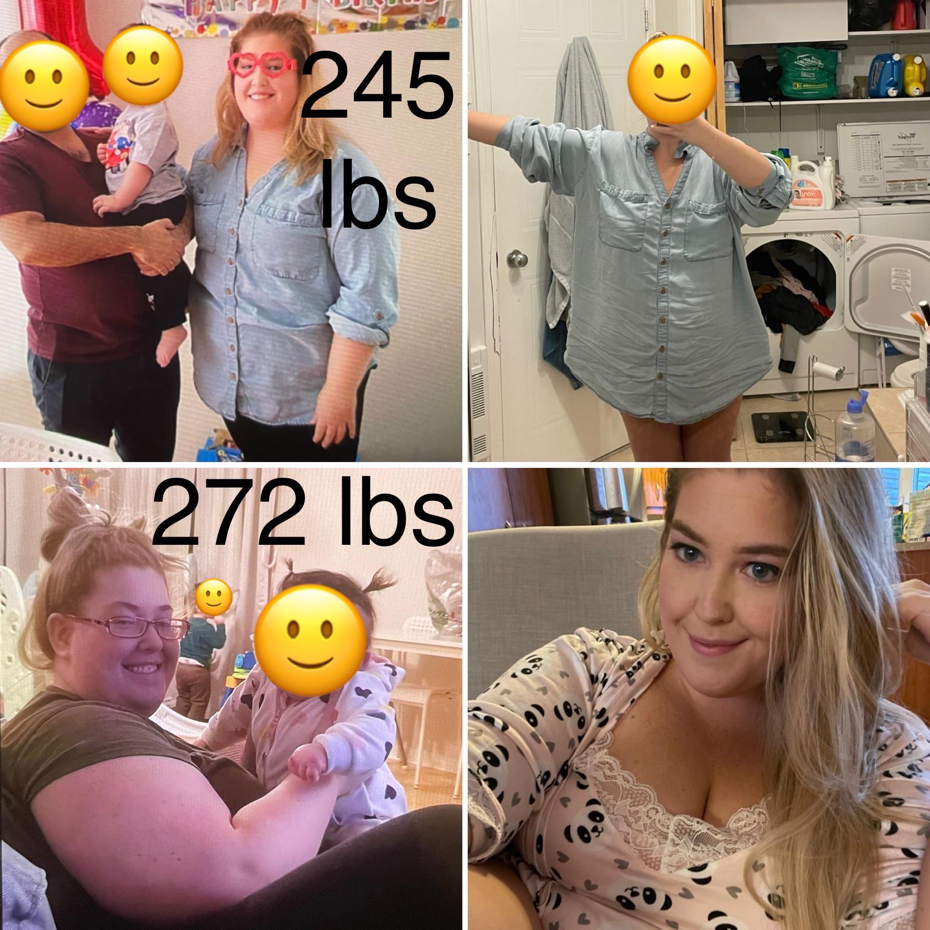 Progress Pics of 75 lbs Weight Loss 5 feet 4 Female 274 lbs to 199 lbs