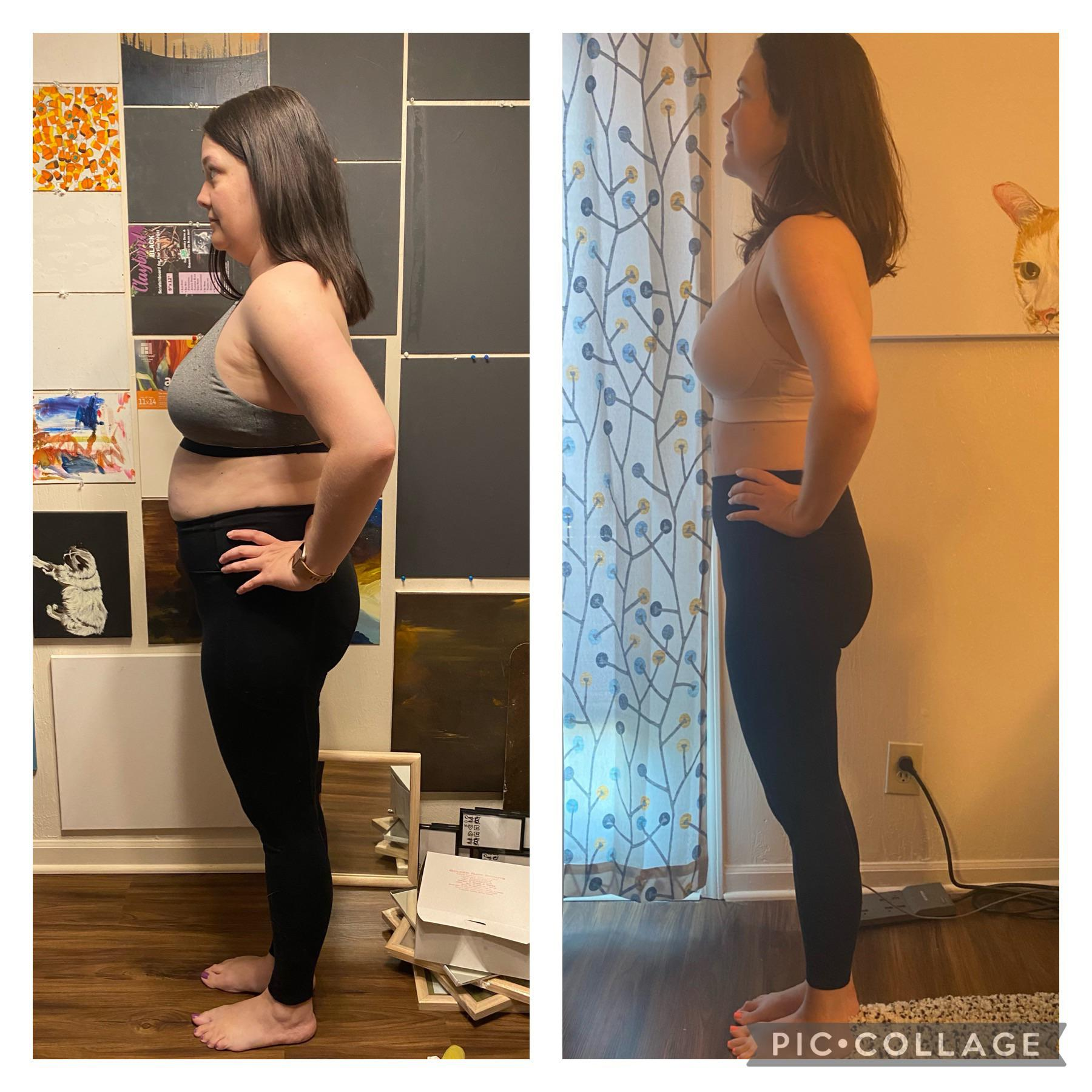 Progress Pics of 36 lbs Weight Loss 5 feet 7 Female 175 lbs to 139 lbs