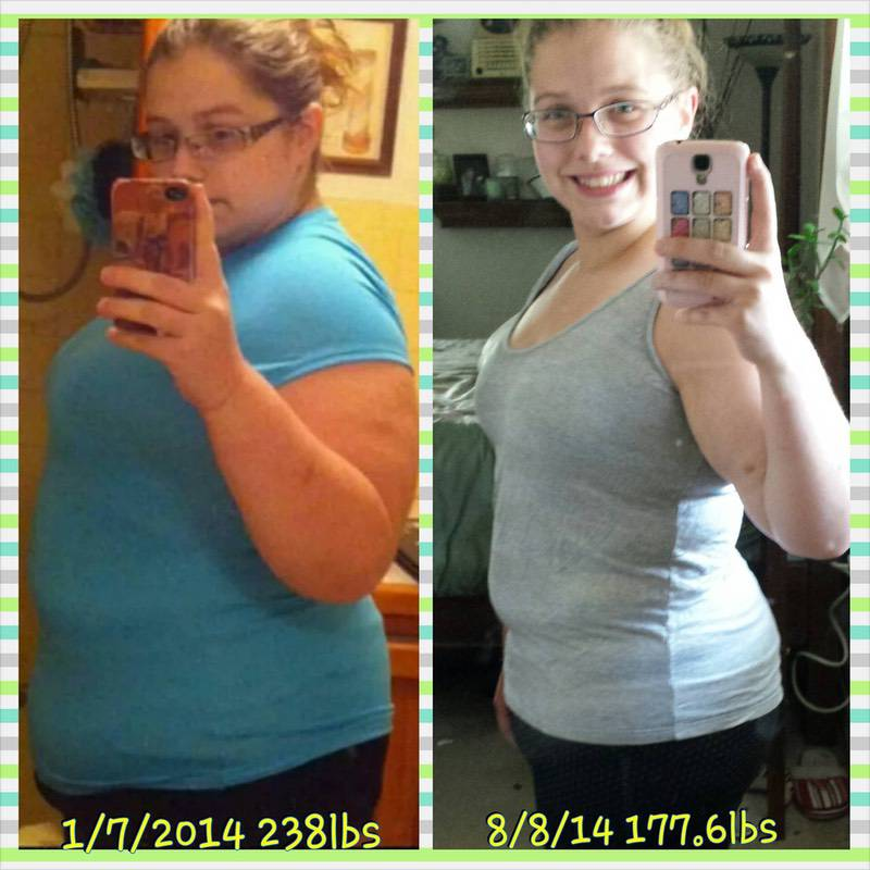 61 lbs Weight Loss 5 foot 1 Female 238 lbs to 177 lbs