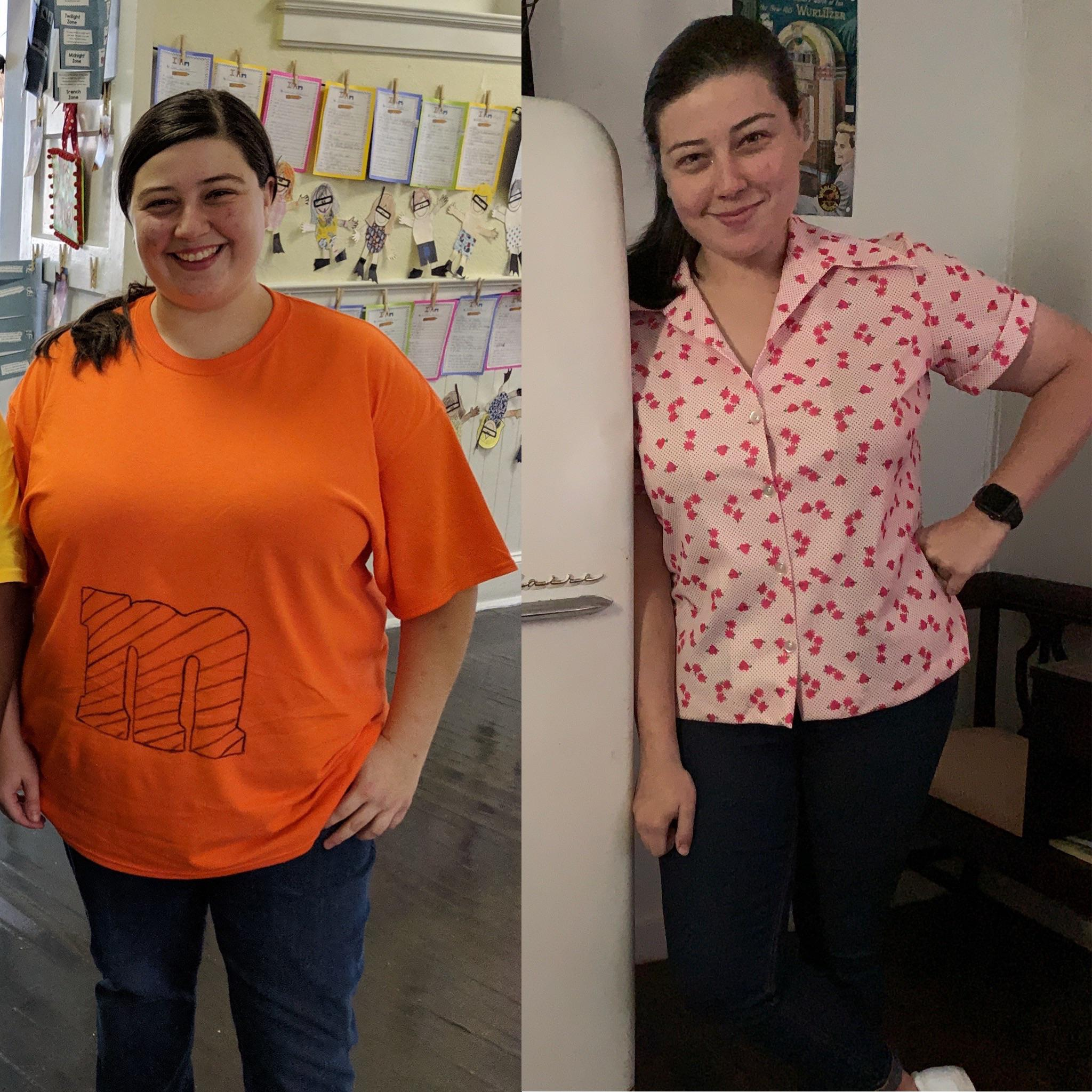 Before and After 90 lbs Fat Loss 5 feet 4 Female 265 lbs to 175 lbs