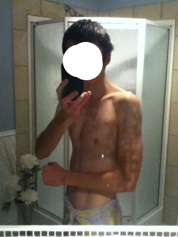 5 feet 8 Male Progress Pics of 32 lbs Weight Gain 109 lbs to 141 lbs