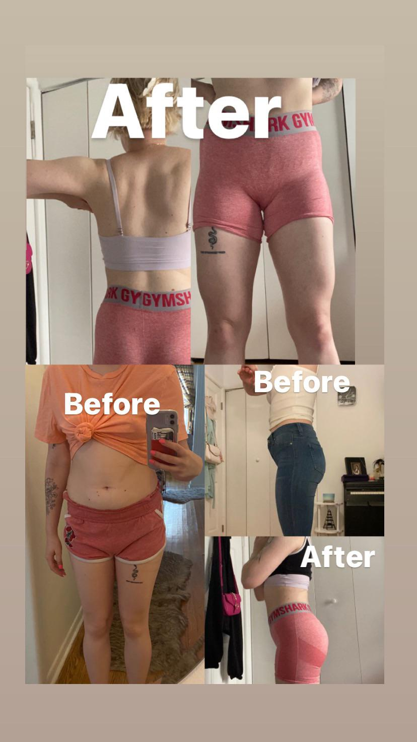 Before and After 20 lbs Muscle Gain 5 foot 4 Female 115 lbs to 135 lbs