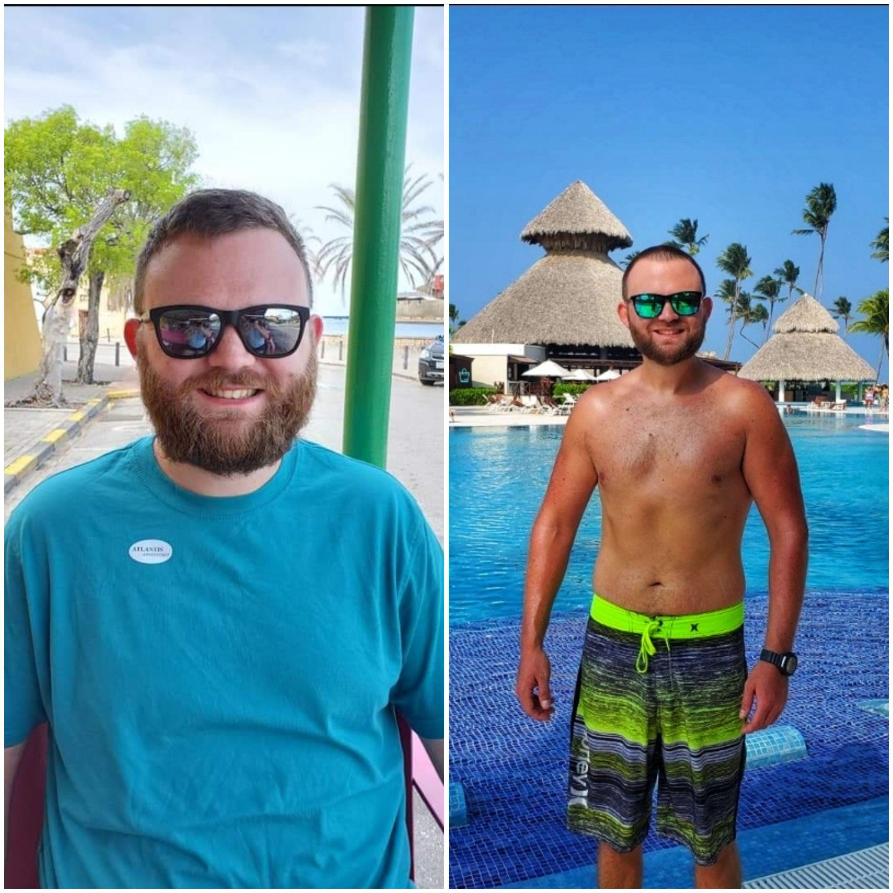 42 lbs Fat Loss Before and After 6 foot Male 220 lbs to 178 lbs