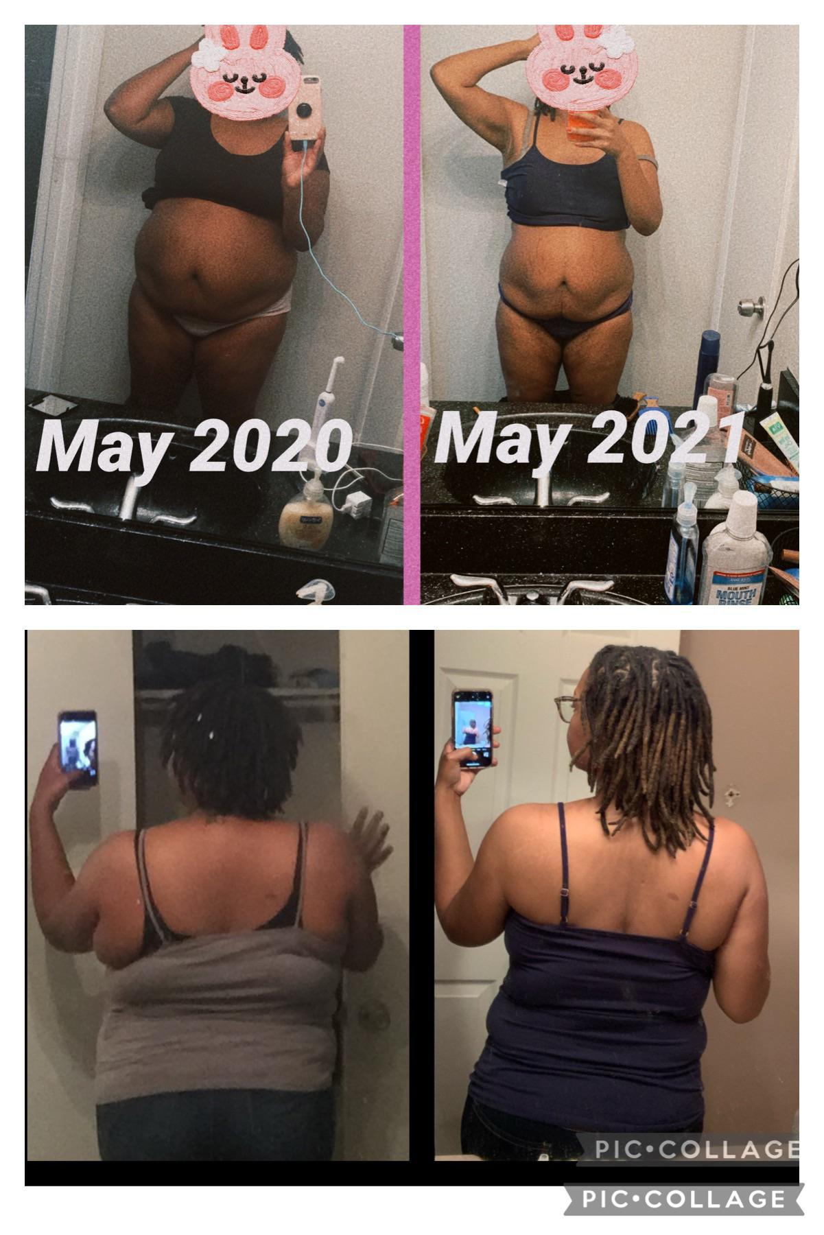 59 lbs Fat Loss Before and After 5 foot 7 Female 265 lbs to 206 lbs