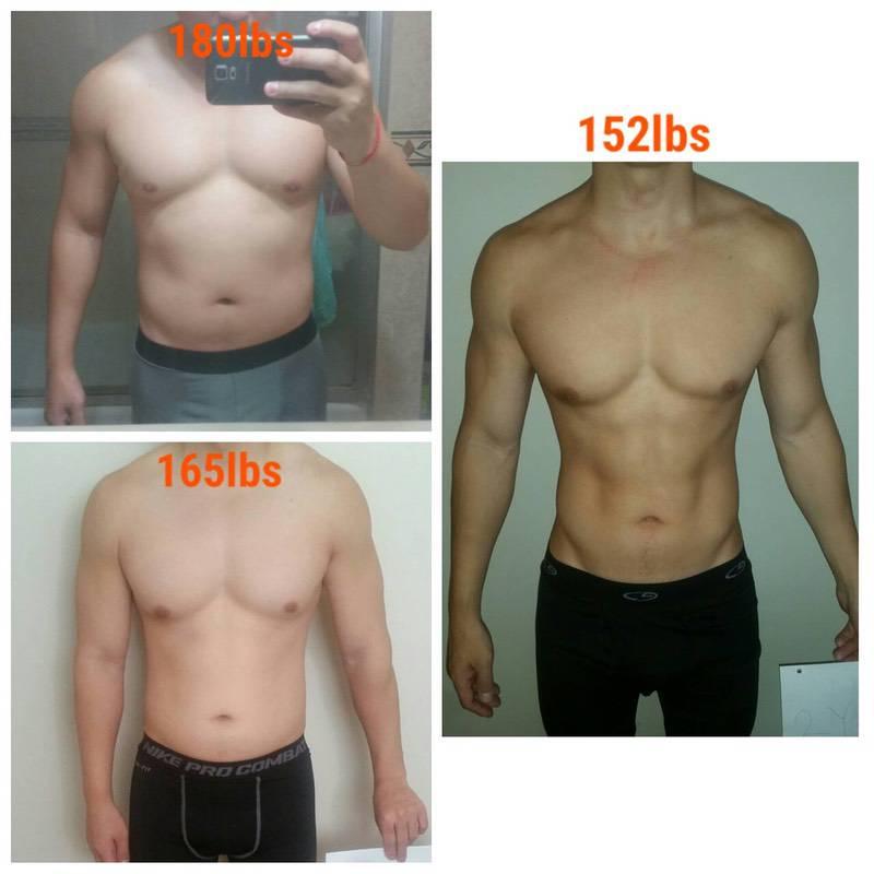 5 feet 7 Male 28 lbs Fat Loss 180 lbs to 152 lbs