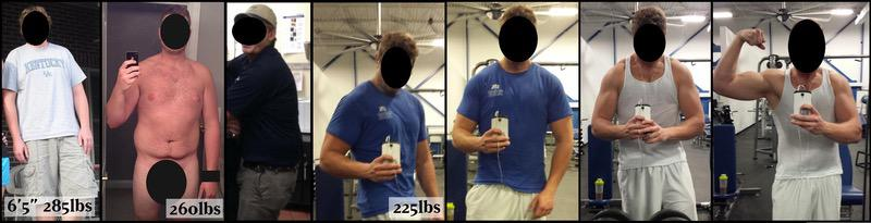 60 lbs Fat Loss Before and After 6 foot 5 Male 285 lbs to 225 lbs