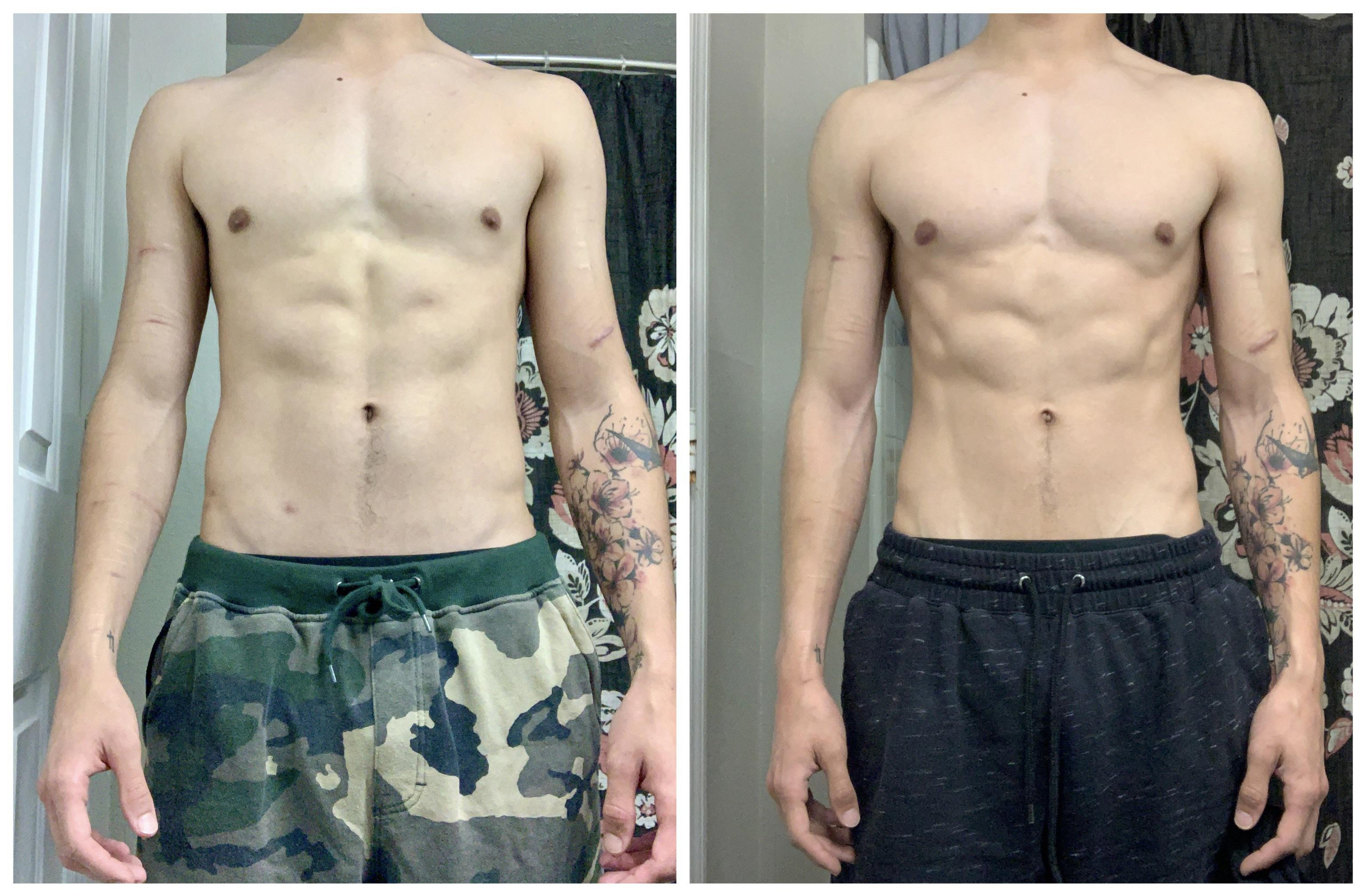 Before and After 30 lbs Muscle Gain 5 feet 10 Male 125 lbs to 155 lbs