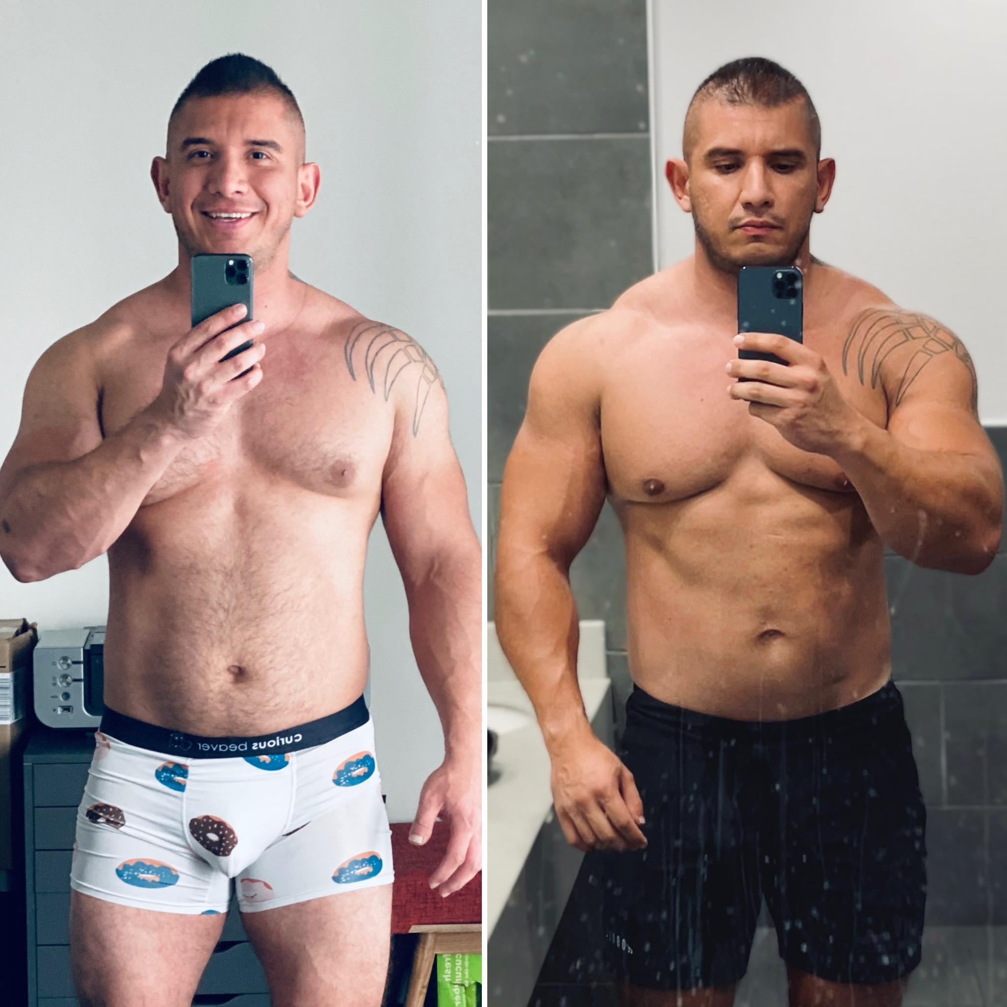 5 foot 11 Male Progress Pics of 23 lbs Fat Loss 245 lbs to 222 lbs