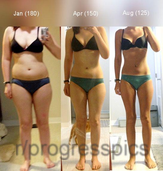 Progress Pics of 55 lbs Fat Loss 5'8 Female 180 lbs to 125 lbs