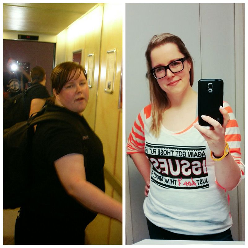 Before and After 73 lbs Weight Loss 5 feet 4 Female 242 lbs to 169 lbs