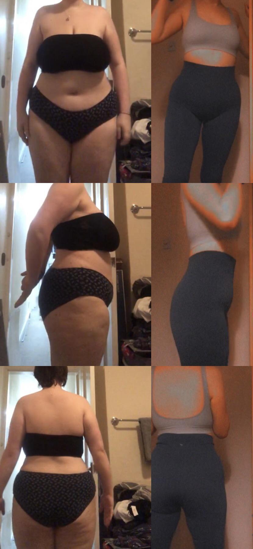 Progress Pics of 95 lbs Fat Loss 5 feet 8 Female 235 lbs to 140 lbs