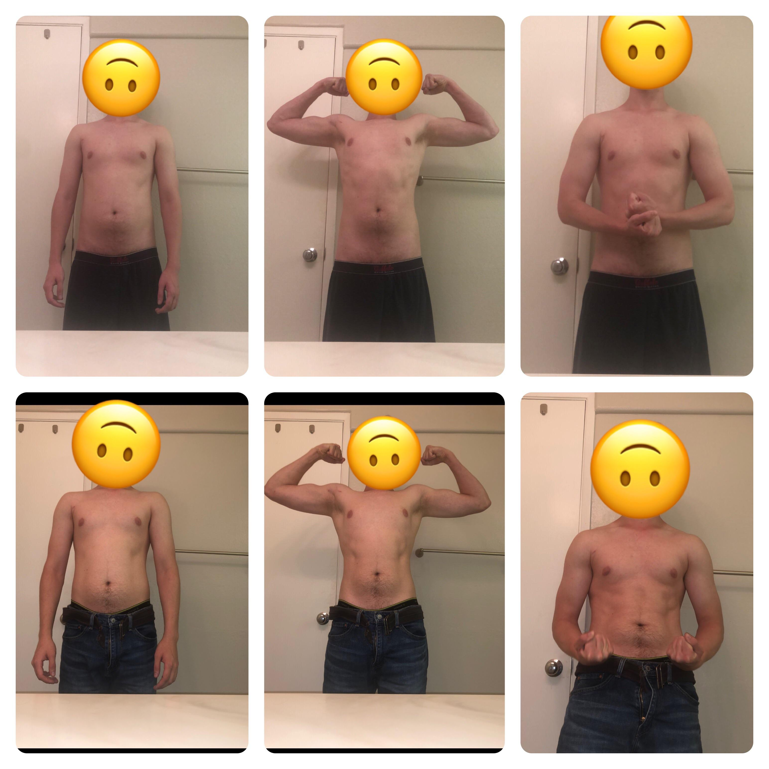 Before and After 5 lbs Muscle Gain 5 feet 11 Male 146 lbs to 151 lbs