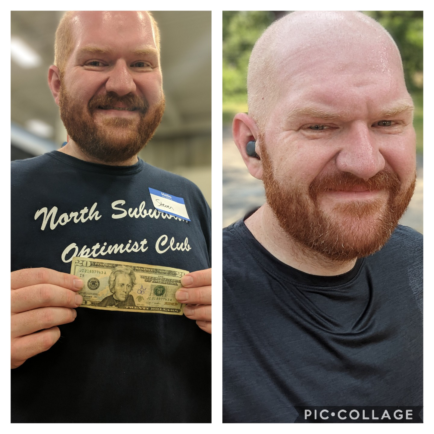 Before and After 55 lbs Weight Loss 6 feet 2 Male 270 lbs to 215 lbs
