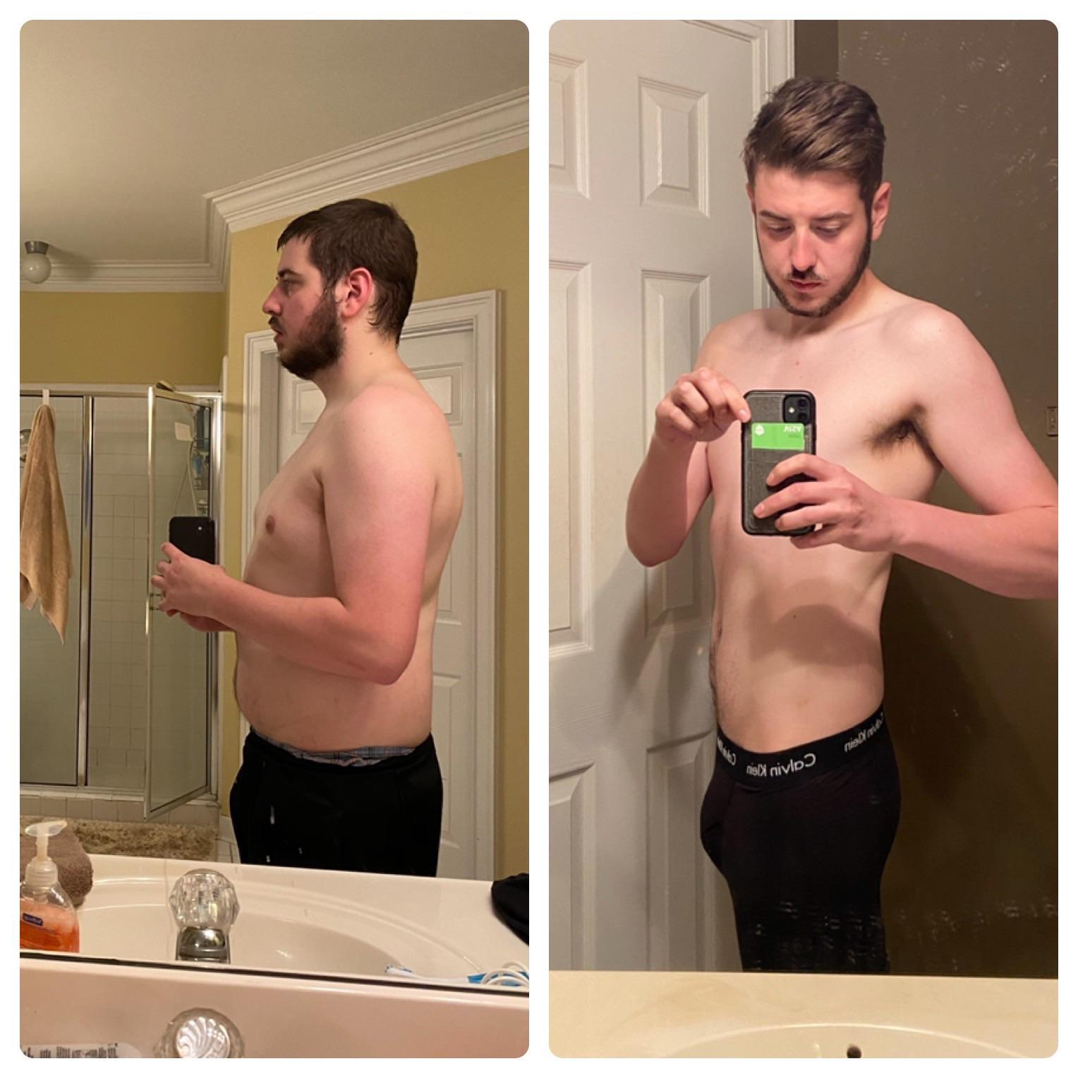 Progress Pics of 65 lbs Weight Loss 6 foot 1 Male 230 lbs to 165 lbs