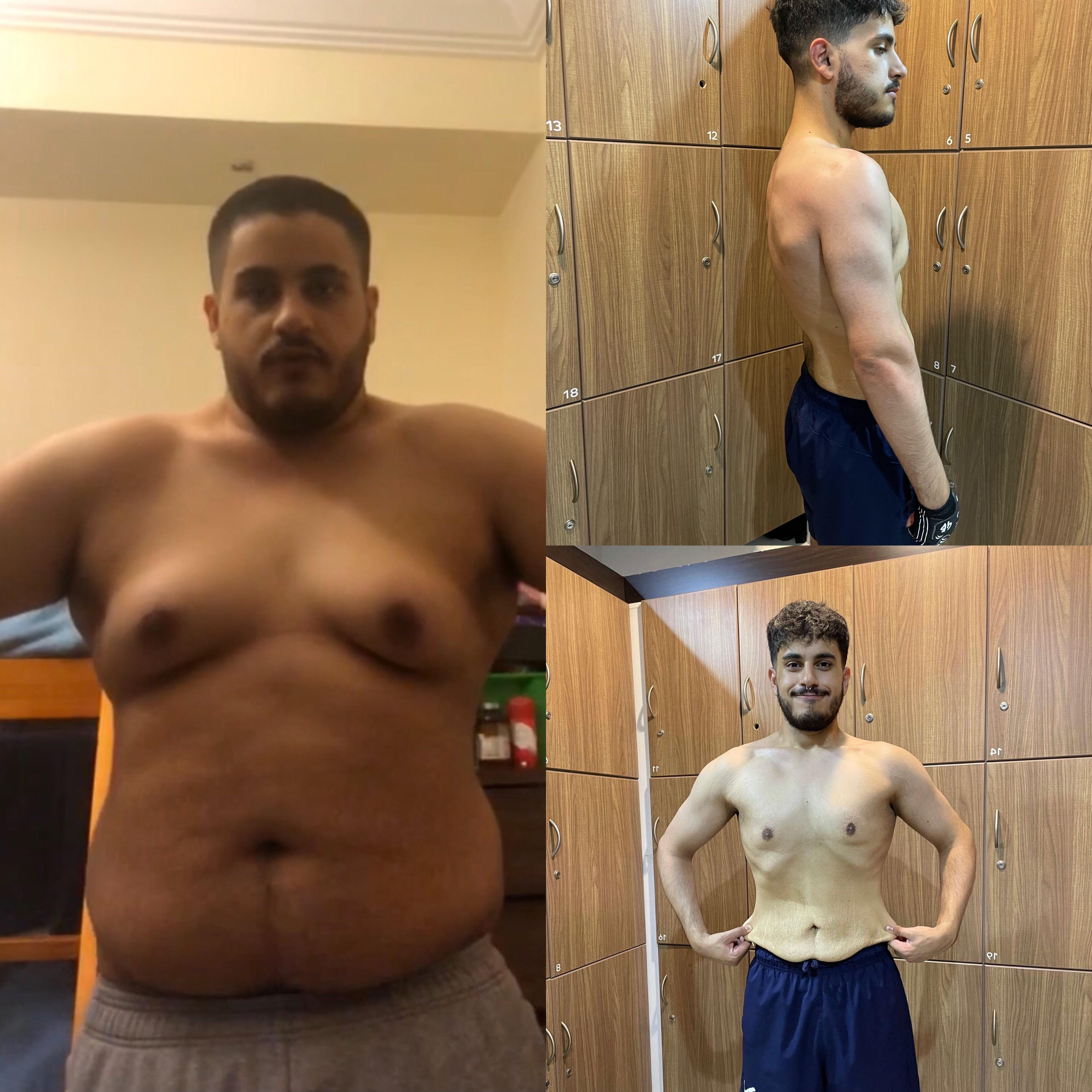 Before and After 89 lbs Weight Loss 5 foot 9 Male 254 lbs to 165 lbs
