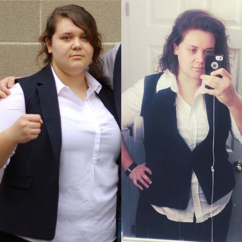 Before and After 58 lbs Weight Loss 5 feet 9 Female 312 lbs to 254 lbs