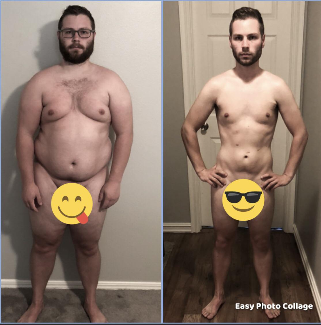 Before and After 82 lbs Weight Loss 5'5 Male 226 lbs to 144 lbs