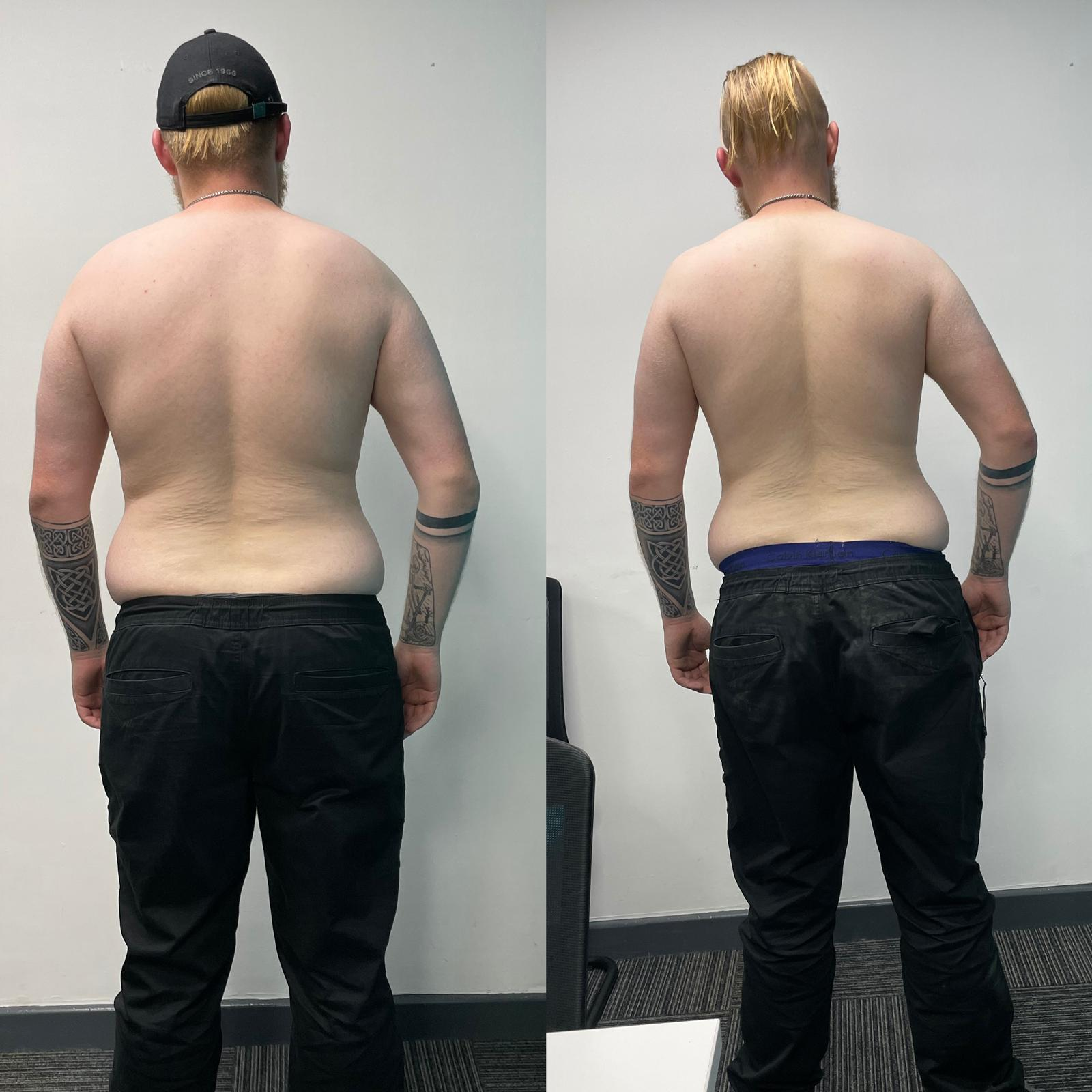 Before and After 33 lbs Weight Loss 6'2 Male 242 lbs to 209 lbs