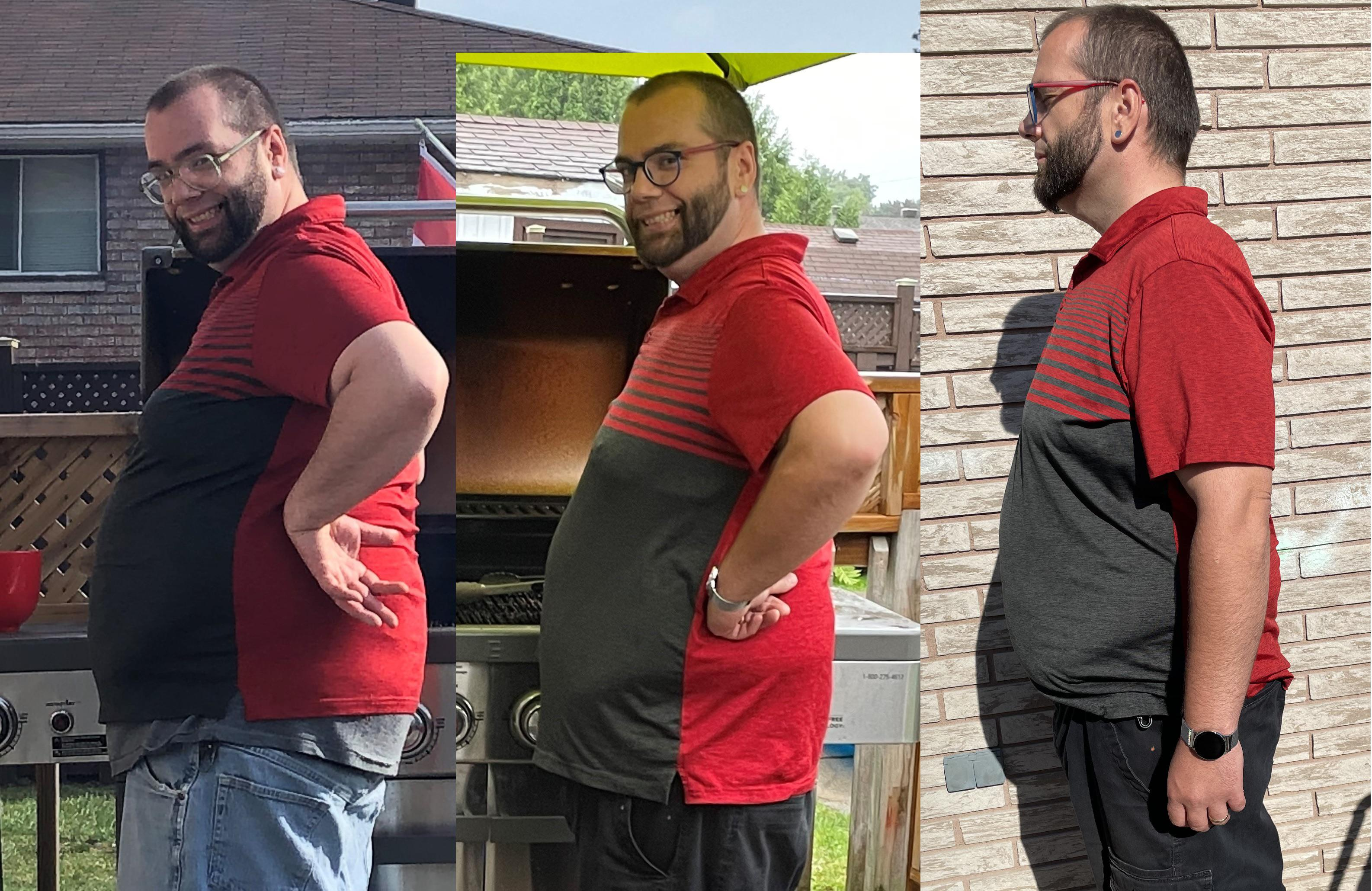 55 lbs Fat Loss Before and After 5 feet 10 Male 299 lbs to 244 lbs