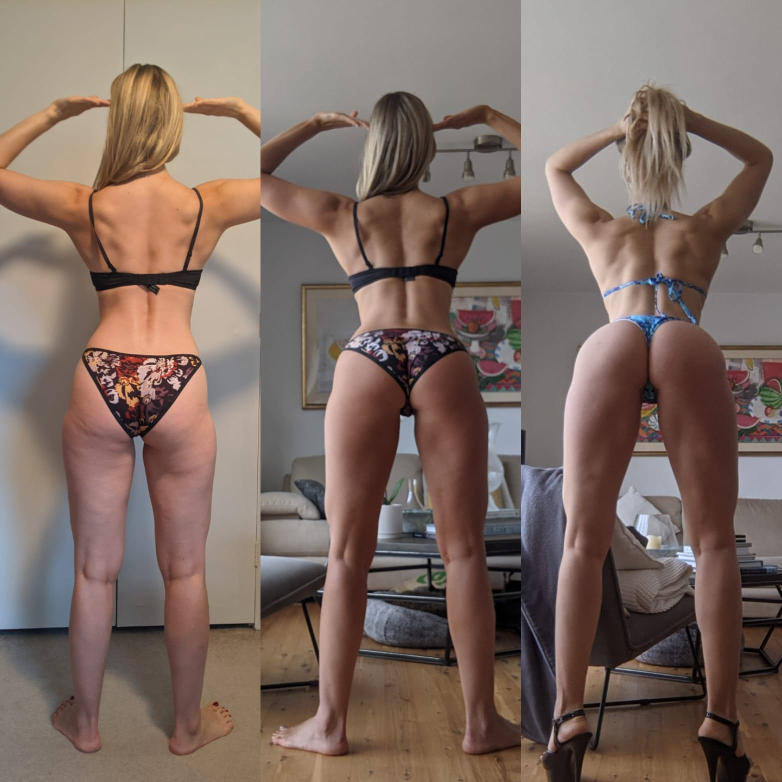 Before and After 4 lbs Muscle Gain 5 feet 9 Female 144 lbs to 148 lbs