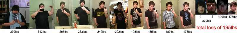 Before and After 195 lbs Weight Loss 5 feet 10 Male 370 lbs to 175 lbs