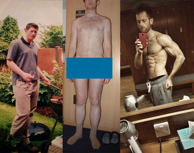 Before and After 96 lbs Weight Loss 6 feet 4 Male 264 lbs to 168 lbs
