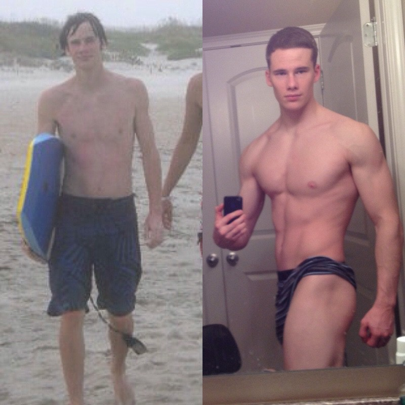 5 feet 11 Male Before and After 40 lbs Muscle Gain 130 lbs to 170 lbs
