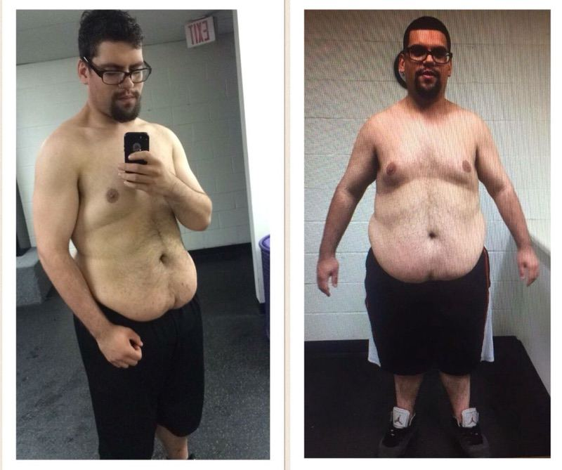 Before and After 100 lbs Weight Loss 6 foot Male 360 lbs to 260 lbs