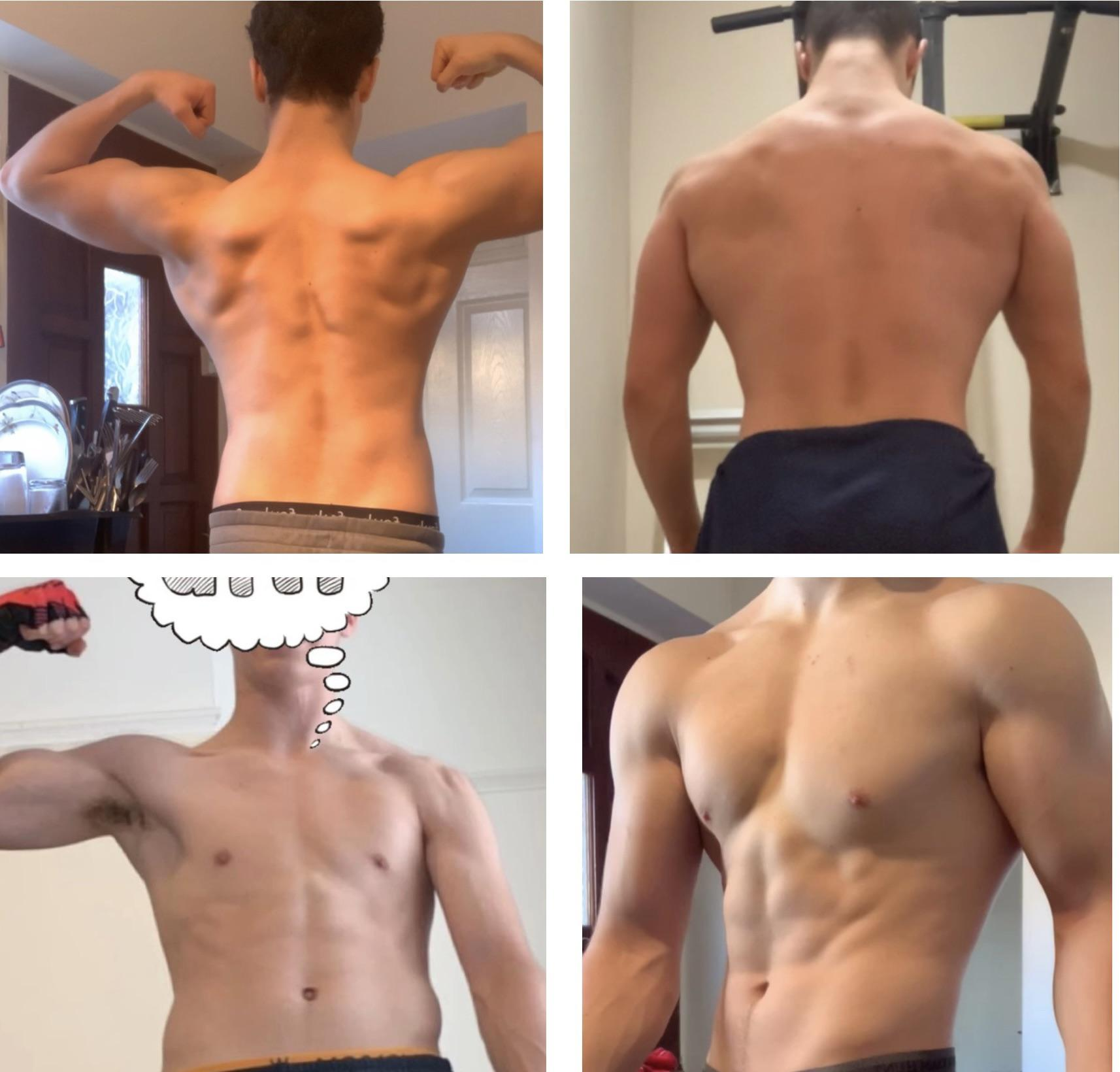 Before and After 31 lbs Weight Gain 5 foot 10 Male 145 lbs to 176 lbs
