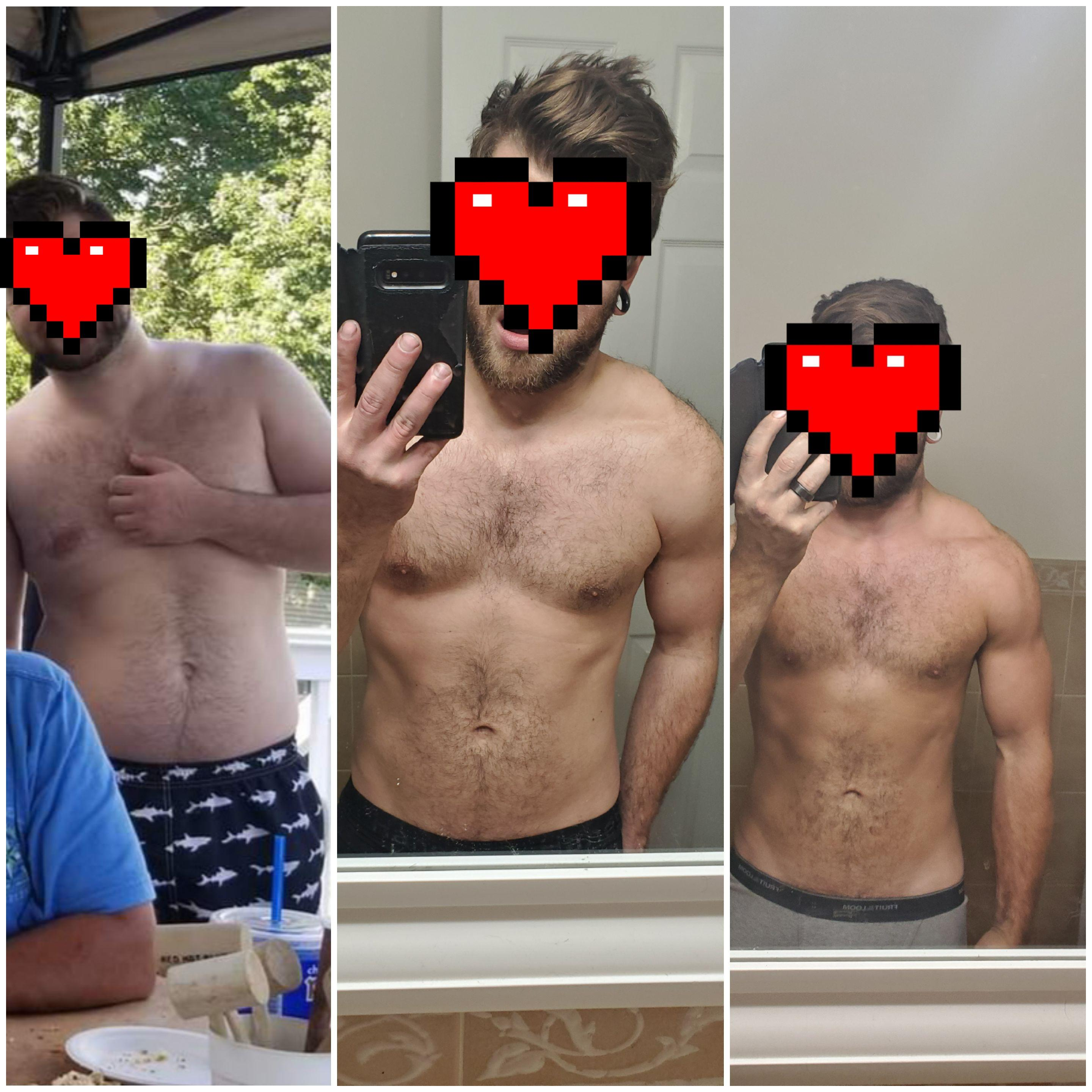60 lbs Fat Loss Before and After 5 foot 10 Male 215 lbs to 155 lbs