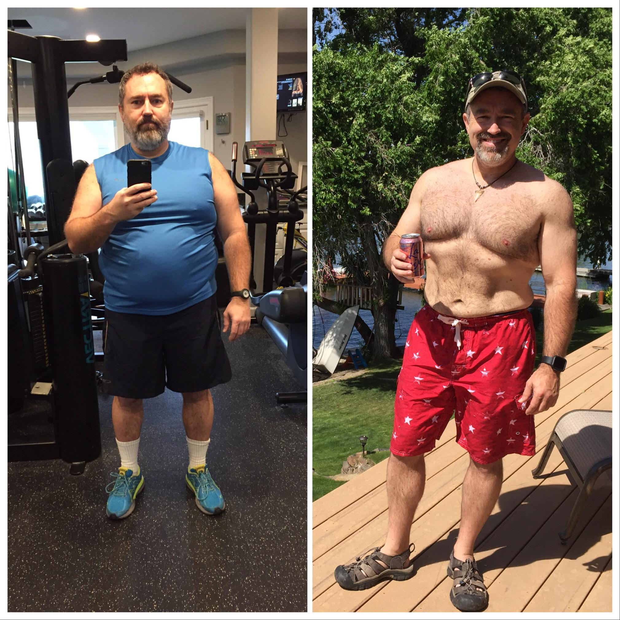 Before and After 52 lbs Fat Loss 5'7 Male 240 lbs to 188 lbs