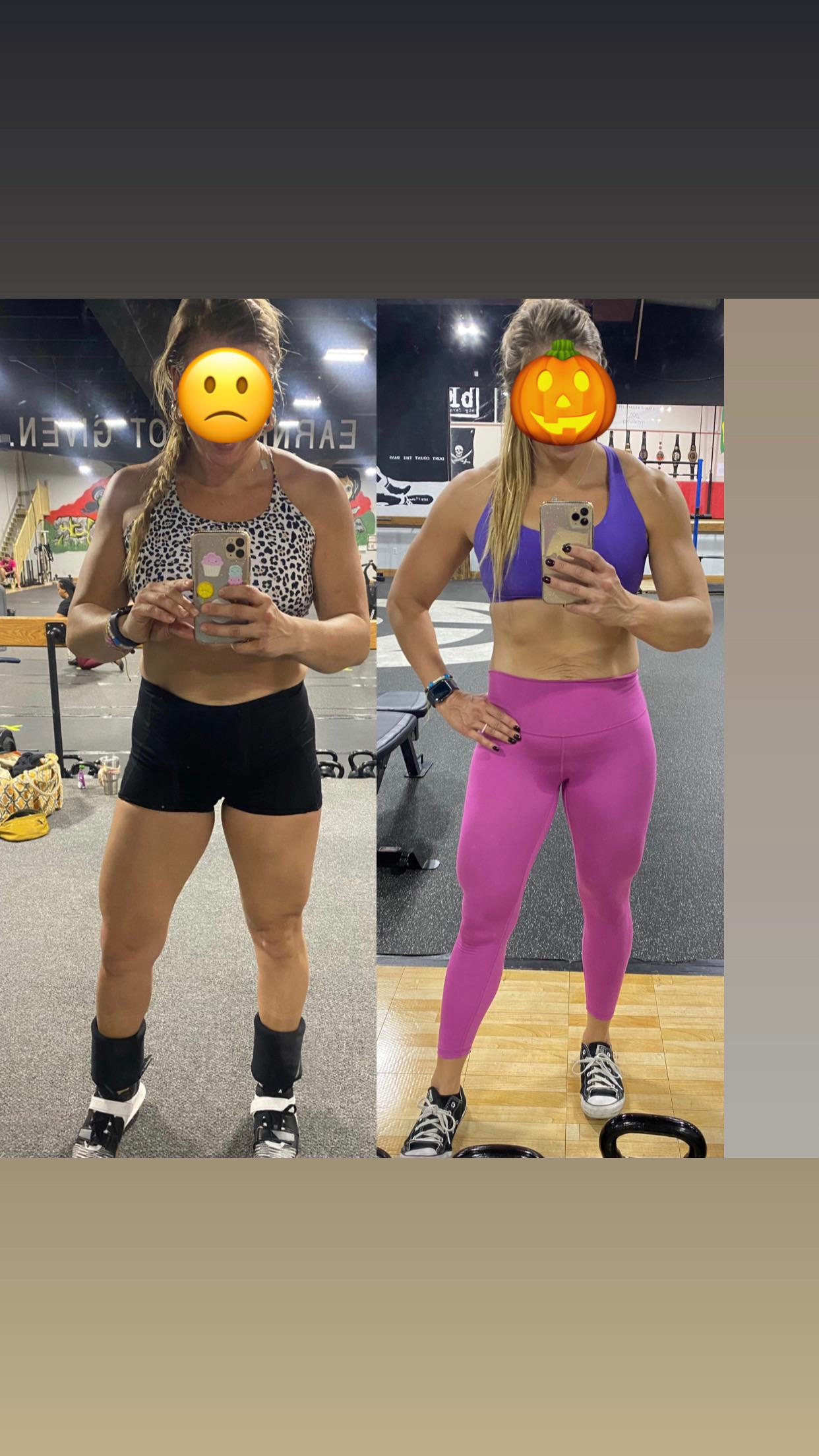 16 lbs Fat Loss Before and After 5 feet 8 Female 180 lbs to 164 lbs