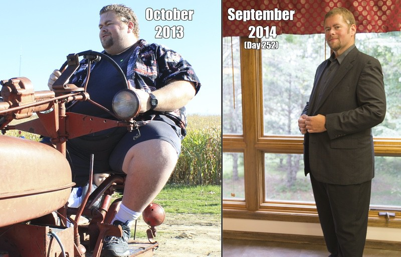 Before and After 190 lbs Fat Loss 6 foot 2 Male 485 lbs to 295 lbs