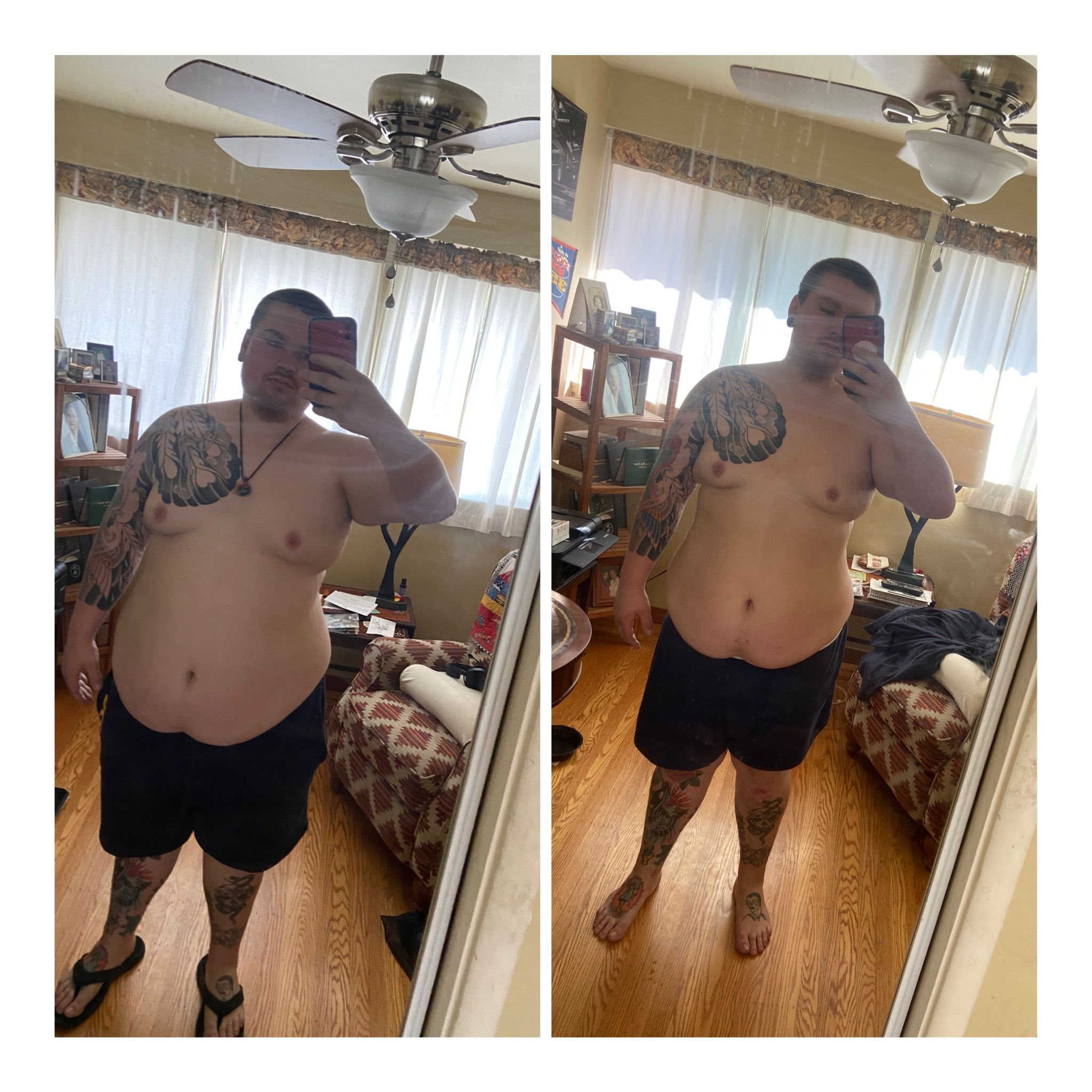 41 lbs Fat Loss Before and After 6 foot 1 Male 340 lbs to 299 lbs