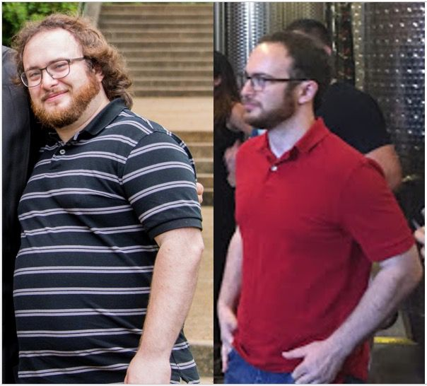 Before and After 60 lbs Fat Loss 5 feet 4 Male 215 lbs to 155 lbs