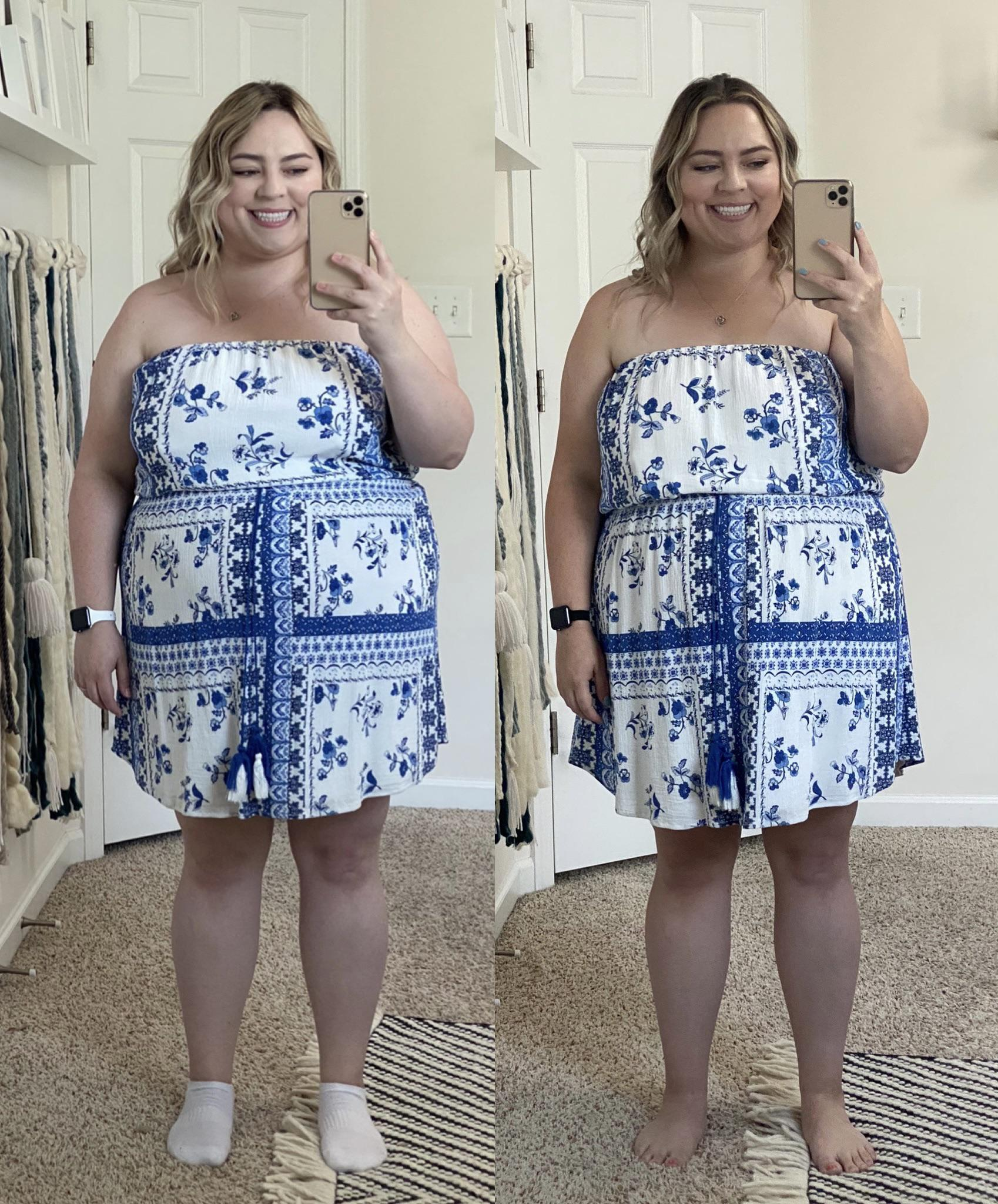 Before and After 32 lbs Weight Loss 5 foot 2 Female 230 lbs to 198 lbs