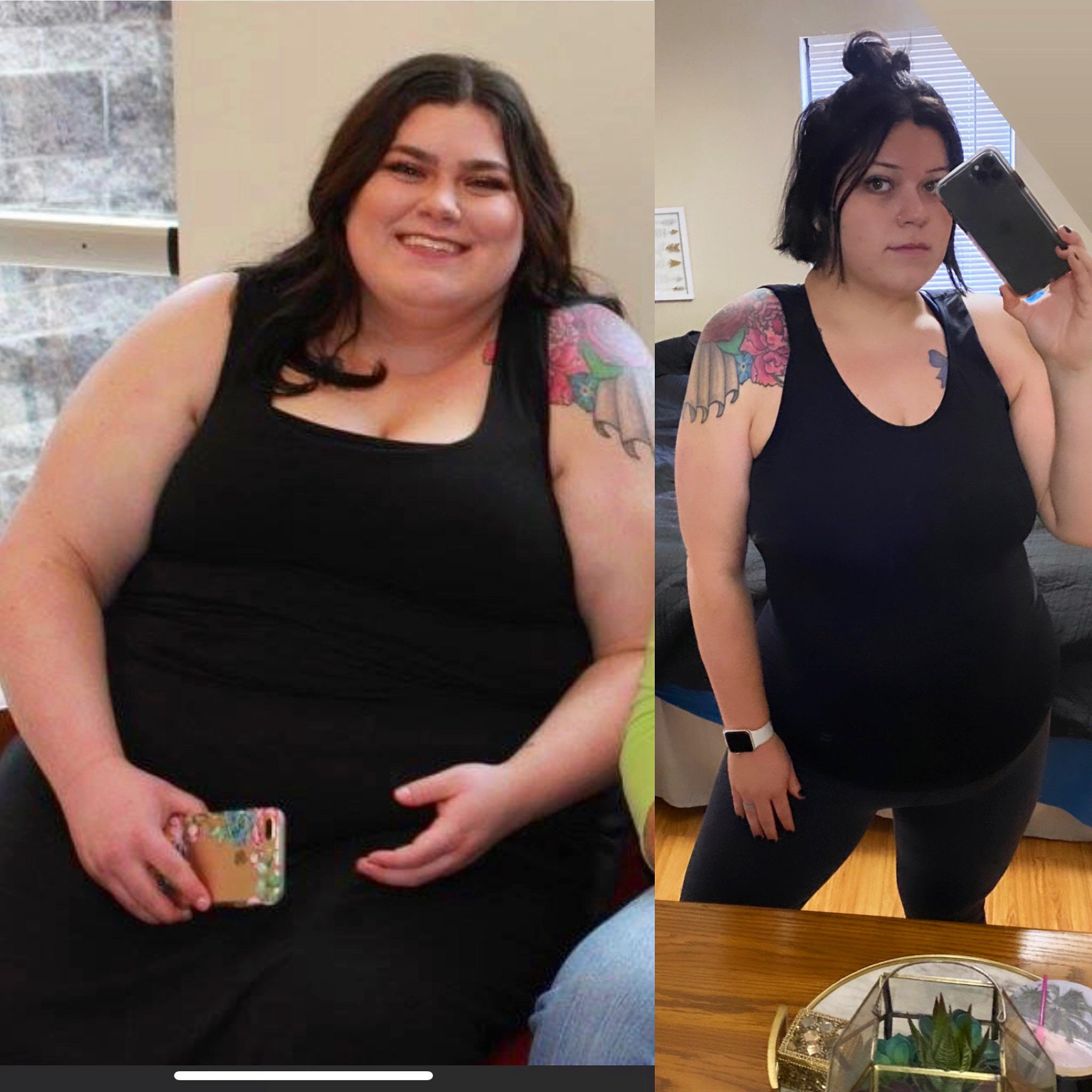 Before and After 155 lbs Weight Loss 5'10 Female 441 lbs to 286 lbs