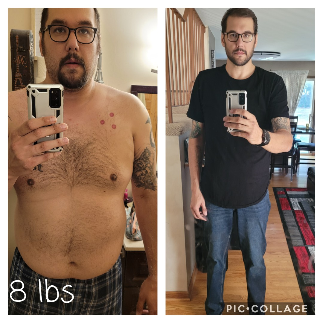 101 lbs Fat Loss Before and After 6 feet 8 Male 358 lbs to 257 lbs